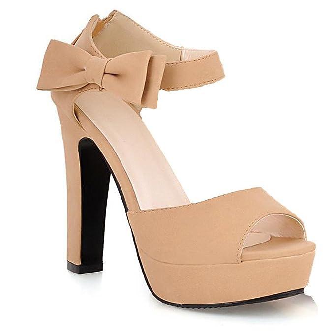 Mine Tom Mujer Chicas Sandalias Elegantes Sandalias De Tacón Alto Con  Bowknot Peep Toe Zapatos  Amazon.es  Ropa y accesorios 7fa1d54f324b