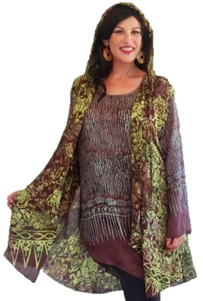 LOTUSTRADERS Shirt Vest 2 Piece Twin Set Hooded Bali Batik l445