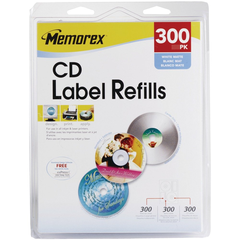 Memorex 300-Labels Wht Matte Cd Labels For Inkjets Lasers
