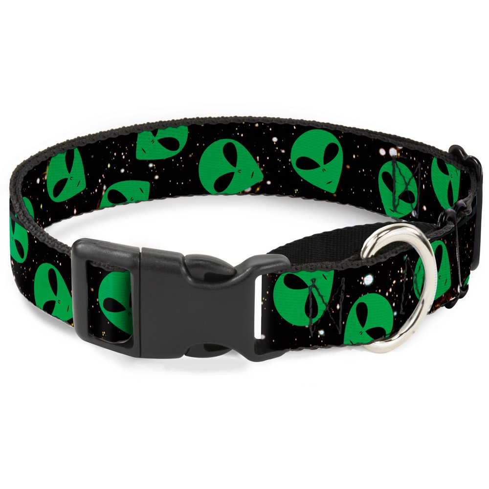 Buckle-Down Aliens Head Scattered Galaxy2 Green Black Martingale Dog Collar, 1.5  Wide-Fits 16-23  Neck-Medium