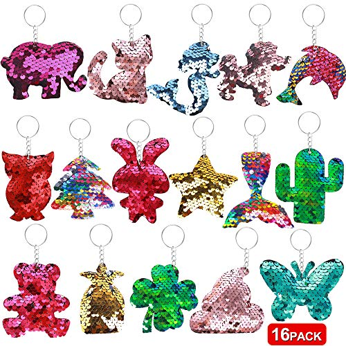 Balhvit Two Sides Flip Sequin Keychain for Kids, Colorful Lovely Girls Party Favors Cat Dolphin Clover etc, Durable Party Favors for Kids Girls Adults Decoration Prize Gifts, 16 Designs