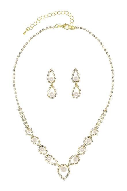 Amazon Com Eye Of Peacock Design Crystal Bridal Necklace Earrings