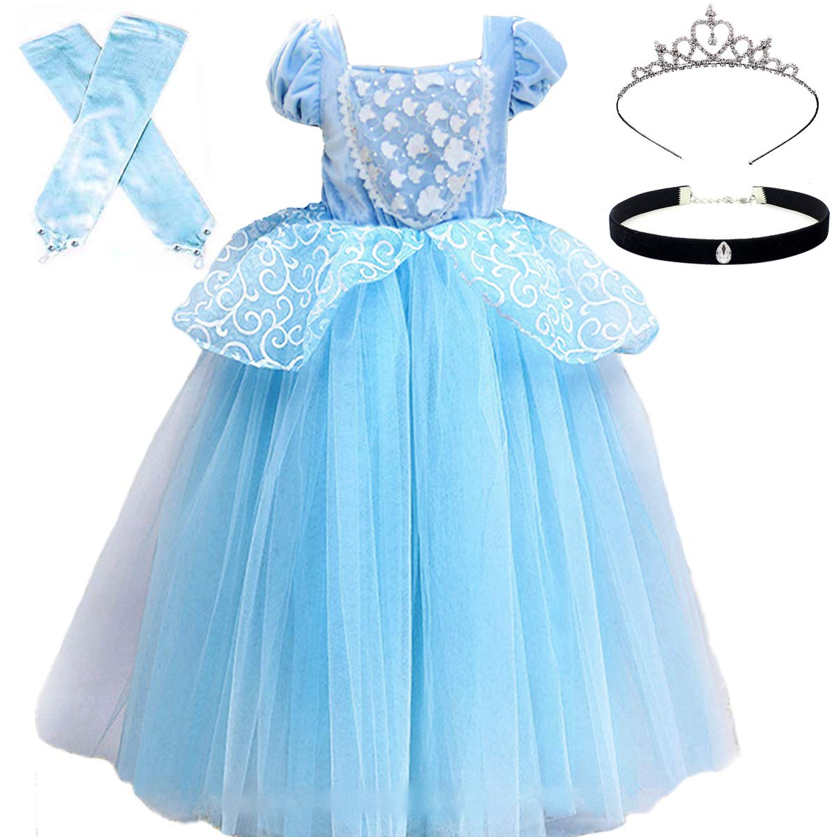 Cinderella Costumes Girls Princess Dress Up Fancy Halloween Christmas Party with Tiara and Choker Set Blue