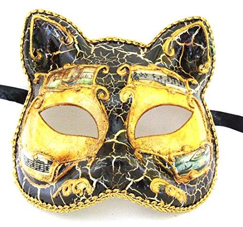 Antique Black Cat with Gold Mardi Gras Mask Venetian Gatto Halloween Costume -