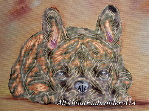 (French Bulldog Bead Embroidery Needlepoint Tapestry kit Dog Beaded Cross Stitch Pet Lover DIY Gift idea Beaded Stitching Broderie perlee)