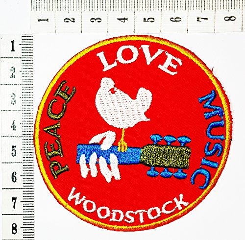 The Woodstock Musical Festival Peace sign hippie boho retro flower power summer of love hippy Embroidered Iron patch / Sew On Patch Clothes Bag T-Shirt Jeans Biker Badge Applique (Hippie Brand Jeans)