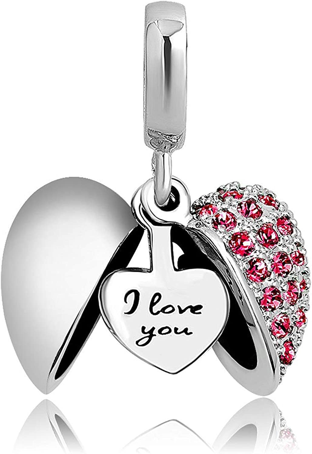 Charmed Craft Heart I Love You Charms Openable Crystal Charms Dangle Beads for Snake Chain Bracelets