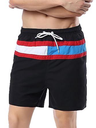 Gfirmament Herren Strand Shorts mit Taschen Netzfutter Badehose (Black#1,  DE S_Asia Tag