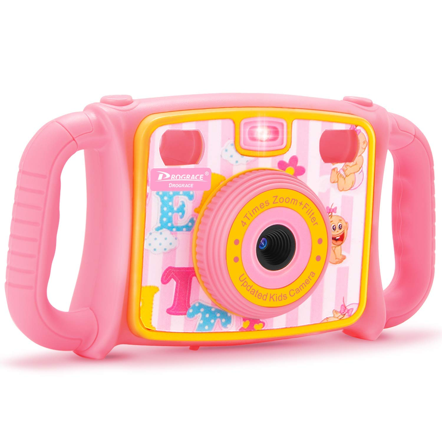 Prograce Kids Camera Creative Camera 1080P HD Video Recorder Digital Action Camera Camcorder for Boys Girls Gifts 2.0'' LCD Screen with 4X Digital Zoom and Funny Game(Pink)