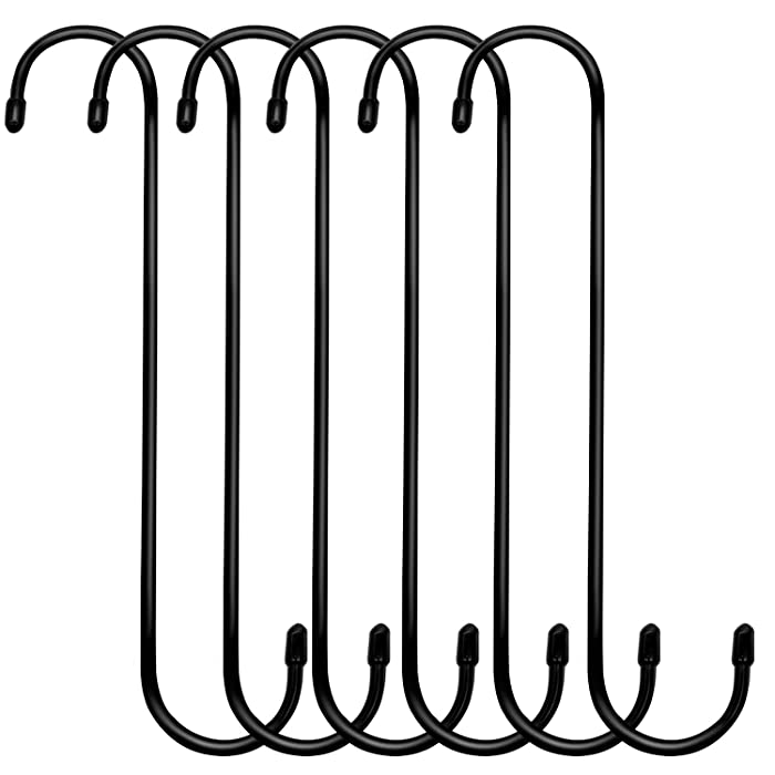 ESFUN 6 Pack 10 inch Extra Large S Hooks Black Steel Heavy-Duty Plant Hanging Hooks Long S Shaped Hooks for Plants,Kitchenware,Pots,Utensils,Wardrobe,Gardening Tools,Clothes