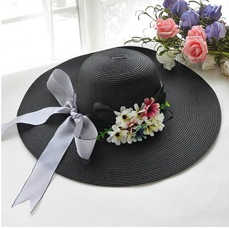 PJ Sombreros Margarita a lo largo del Sombrero de Paja Femenina Viaje de  Verano Protección Solar b223da6e853