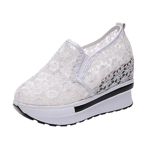 Zapatos para Mujer Otoño 2018 Zapatillas de Dama de Plataforma PAOLIAN Casual Cómodo Calzado de Señora con Encaje Moda Breathable Zapatillas de Vestir: ...