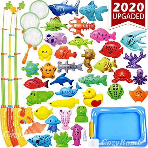 Carnival Fishing Game (CozyBomB Kids Pool Fishing Toys Games - Summer Magnetic Floating Toy Magnet Pole Rod Fish Net Water Table Bathtub Bath Game - Learning Education For age 3 4 5 Boys)