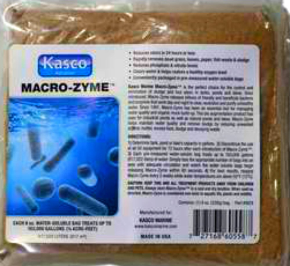 Kasco Marine Macro-zyme Lake & Pond Bacteria - Muck, Silt, Sludge, Odor Reducer - Qty: 16 Packets