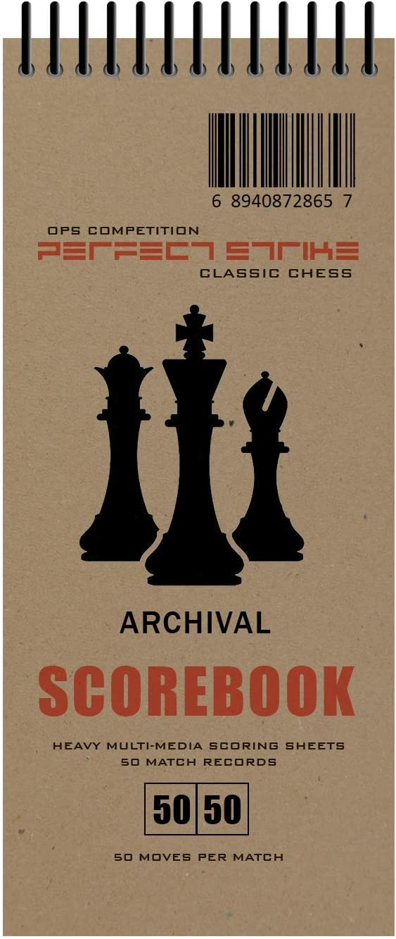 Great for Practice and Competition. Perfect Strike Chess SCOREBOOK with Rules and Scoring Instructions Heavy Duty Archival Quality