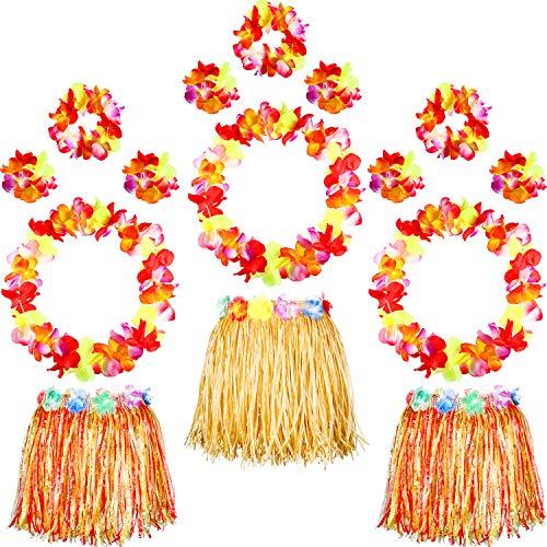 - 3 Pieces Hawaiian Elastic Hula Grass Skirt, 12 Pieces Flower Necklace Bracelet Headband Garlands Beach Party Accessory