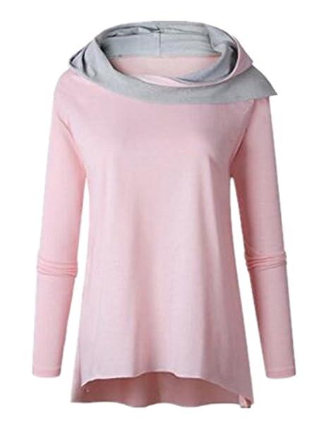 Tayaho Sudaderas con Capucha Mujeres Camiseta con Manga Larga Sudadera Patchwork Universidad Blusa Largo T-Shirt Suelto Oversize Pullover Finos Tops ...