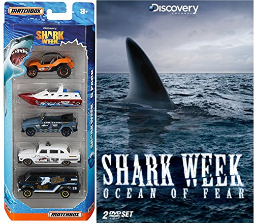 Shark Week: Ocean of Fear Discovery DVD & Matchbox Shark Week Exclusive Discovery Channel 2 Disc set 5 car Special Edition set Movie pack Set (Dinosaurs Perfect Predators)