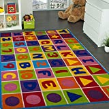 Mybecca Kids Rug Numbers and Letters 3' X 5' Children Area Rug for Playroom & Nursery - Non Skid Gel Backing (39'' x 56'')