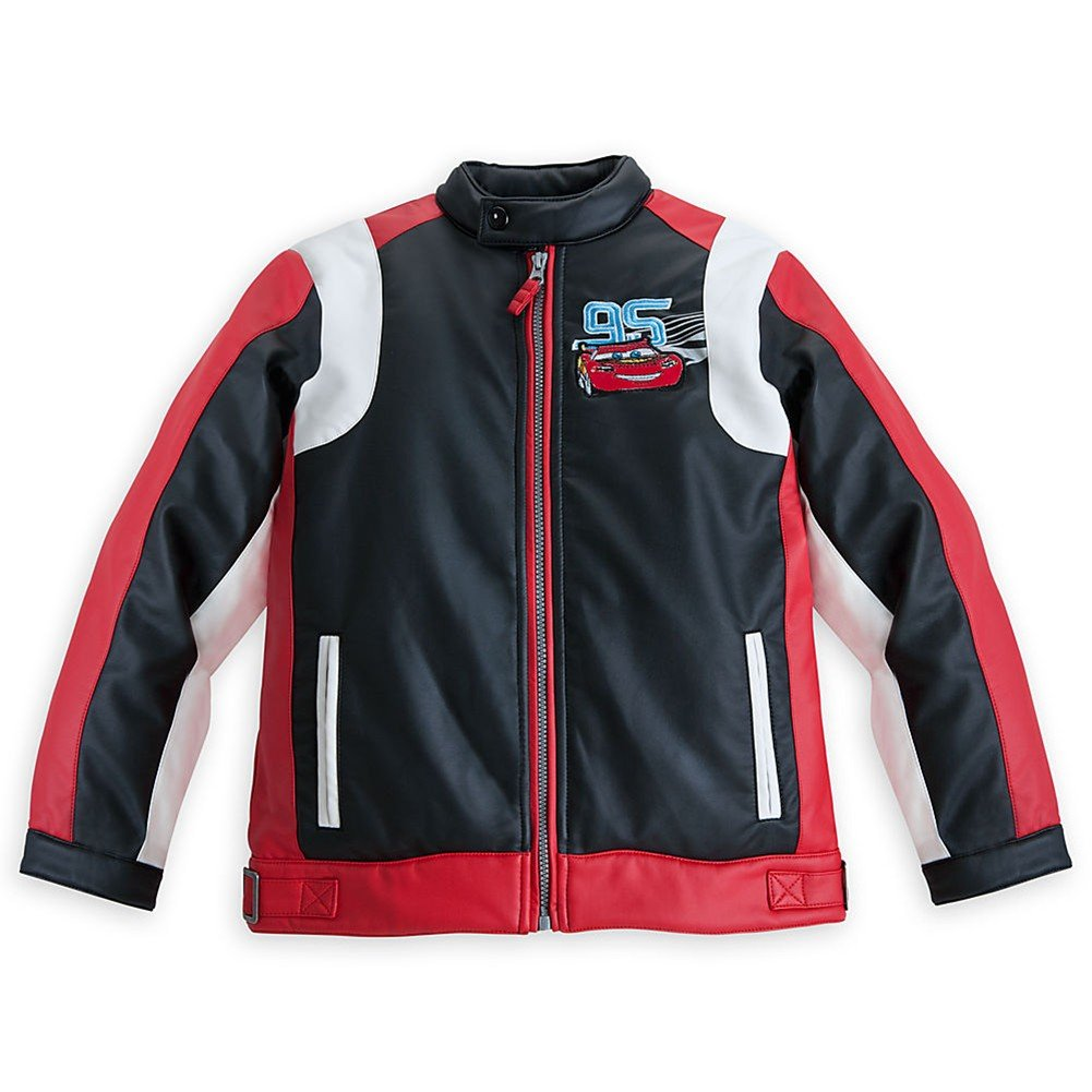 Disney Store Cars Lightning McQueen Faux Leather Racing Jacket Size Small 5/6 Black