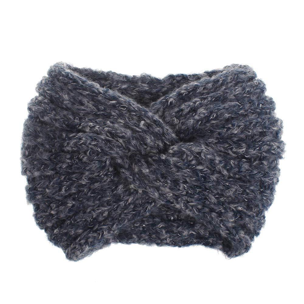 geiqianjiumai Weiche Mohair Wolle Fadenkreuz Haarband Damen Haarschmuck Ohrensch/ützer warme Mode Mode-Stil beige Farbcode