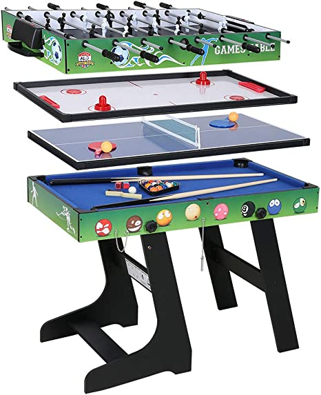 JCF 4 en 1 Mesa de Multijuegos Futbolín Mesa de Billar Hockey Mesa de PingPong con Patas Plegables 4 Pies Verde: Amazon.es: Deportes y aire libre