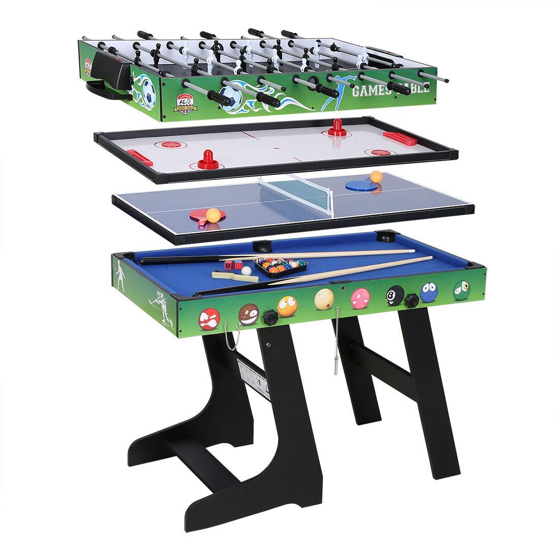 hj Table Multi Jeux 4 en 1 Pliante-Billard/Babyfoot/Hockey/Tennis de Table-121.5*61*81.5cm JH
