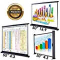 "Koval Inc. 30"" 4:3, 50"" 16:9, 50"" 4:3 Portable Table Top Projector Screen"