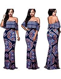 Womens Maxi Dresses Ruffle Plain Off Shoulder Floral Print Sexy Cocktail Bodycon Dresses S-3XL
