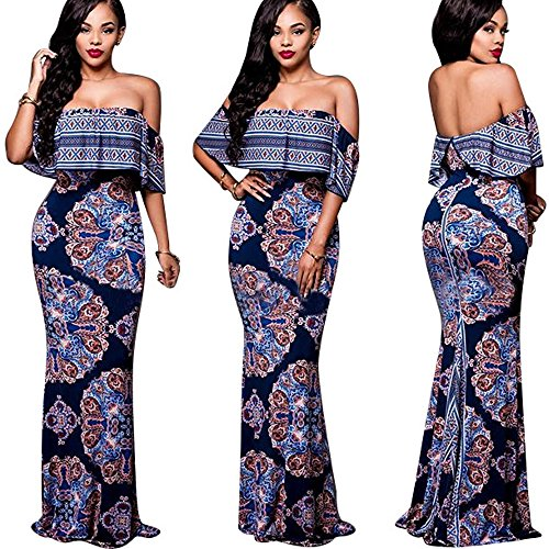 Floral Ruffle Skirt (Bodycon Maxi Dress for Women Ruffle Plain Off Shoulder Floral Print Purple Blue)