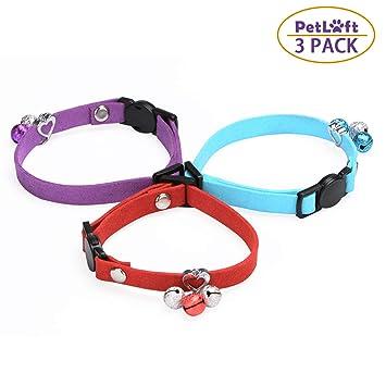 PetLoft - Juego de 3 Campanas para Collar de Gato, de Terciopelo Ajustable, para