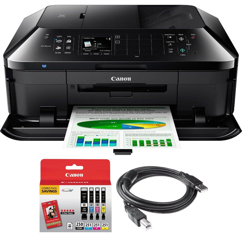 Canon PIXMA MX922 Wireless Inkjet Office All-In-One Printer + Canon Genuine PGI-250 BK,CLI-251,4 Inks + Printer Cable