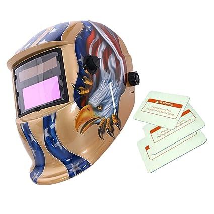 Máscara Automático Soldadura de Oscurecimiento Solar Casco Arco Tig Mig Soldador Patrón de Eagle - Oro