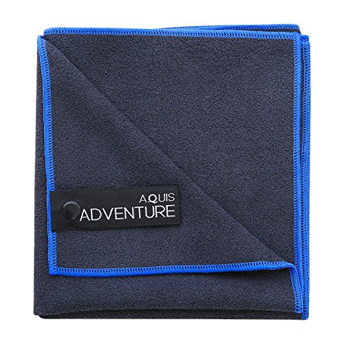 Aquis - Adventure Microfiber Sports Towel, Quick-Drying Comfort For Quick-Drying Comfort For Running, Racquet Sports or Golf, Black with Blue Trim (Medium/15 x 29 (15 Energy Saving Trim)
