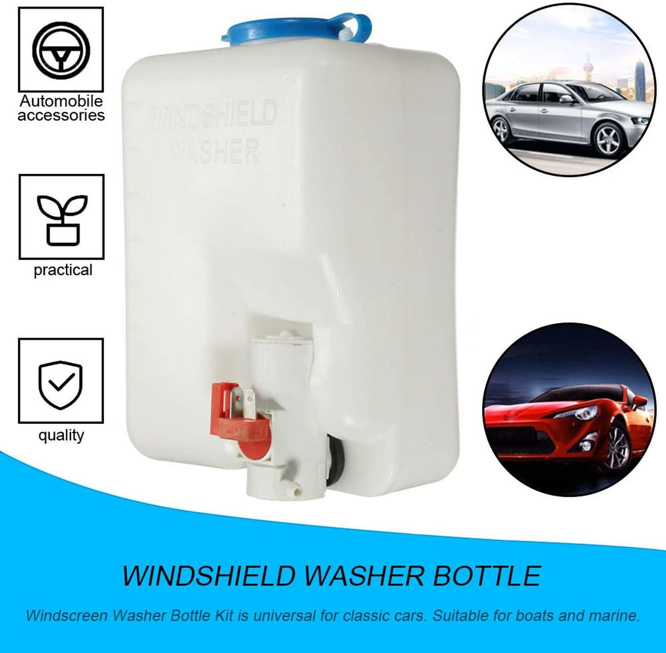 12V Universal Classic Car Windshield Washer Reservoir Pump Bottle Kit Jet Switch Clean Tool Easy/&Convenient to Use