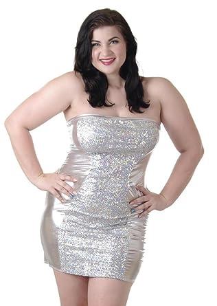 Amazon.com: Delicate Illusions Plus Size Stretch Lame Tube Dress ...