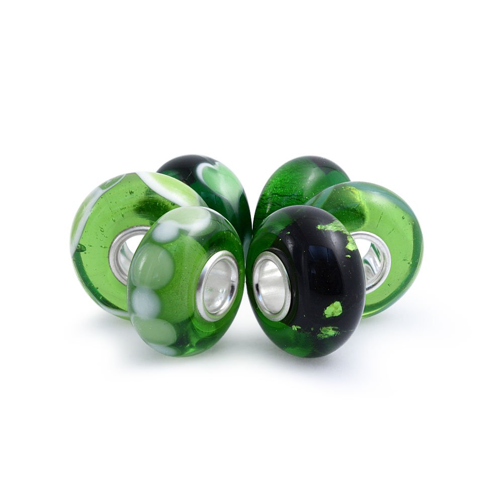 Set of Six Bundle Green Simulated Emerald Murano glass Lampwork Bead Charm .925 Sterling Silver