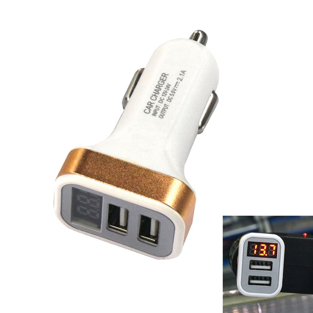TOOGOO Dual USB 12-24V 2.1A Display car Charger/Mobile Fast Charging Gold