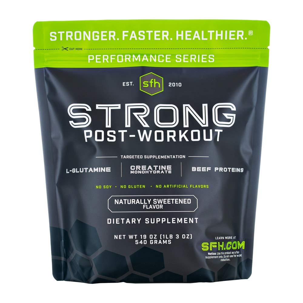 STRONG Muscle Builder by SFH | Creatine Glutamine & Serum Beef Protein for Lean Muscle Growth & Strength | Keto Creatine Workout Supplements for Men & Women | Free of Gluten Sugar Soy GMO (1.19lb Bag)