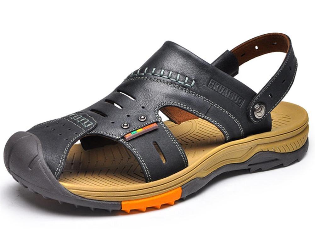 W&XY Männer draussen Leder Sandalen Sport Strand Schuhe Baotou Rutschfest Rutschfest Rutschfest Deodorant Hausschuhe schwarz d45eaf