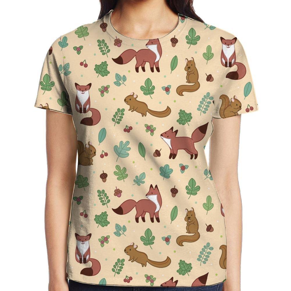 Cozy Fox Squirrel Girl's Popular Graphic Tee Compression Sports Tshirt