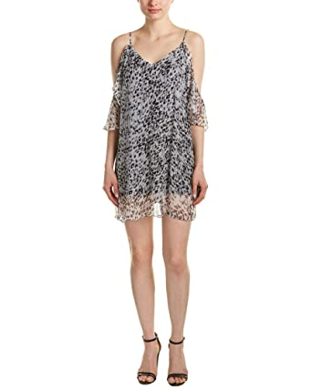 Ella Moss Womens Silk Animal Print Party Dress Silver S