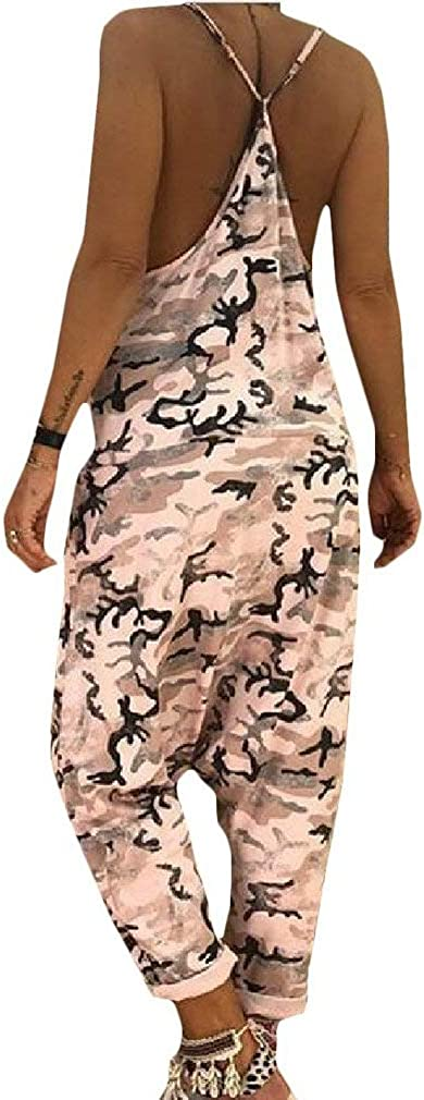 Lutratocro Womens Camouflage Wide Leg Summer Spaghetti Strap Backless Jumpsuit