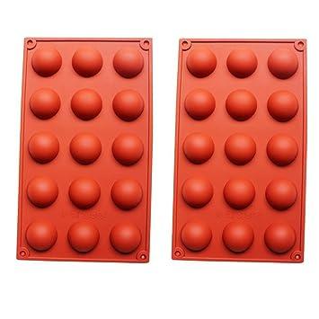 2 moldes de silicona de 15 cavidades de hemisferio de media esfera, semisferio, chocolate: Amazon.es: Hogar