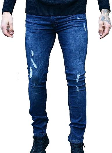 Pantalones De Hombre Azul Marino Pulido Pantalones De Moda Jeans Destruidos Pantalones De Mezclilla Vintage Pitillo Estrecho Pantalones De Mezclilla Pitillo Color Negro Size S Amazon Es Ropa Y Accesorios