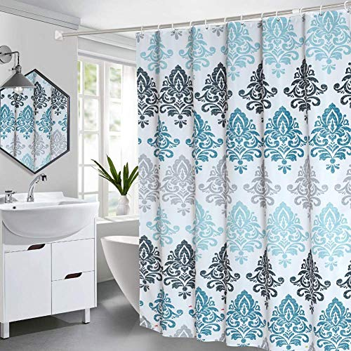 Seavish Fabric Shower Curtain, 72 x 72 Light Blue Damask Motif Boho Cloth Shower Curtains for Bathroom Ethnic Tribal Design, Heavy Weighted and Waterproof