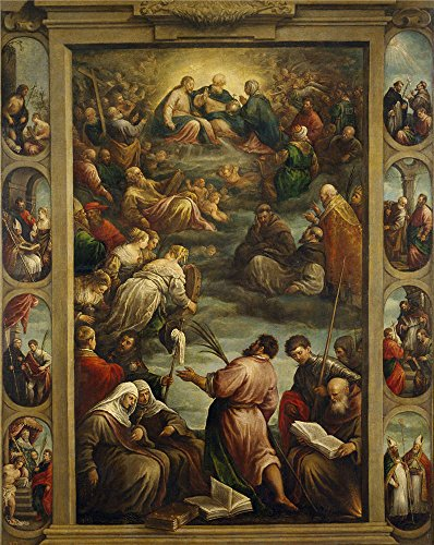 High Quality Polyster Canvas ,the High Resolution Art Decorative Canvas Prints Of Oil Painting 'Bassano Francesco La Virgen Maria En El Cielo Second Half Of 16 Century ', 30 X 38 Inch / 76 X 96 Cm Is Best For Gym Decor And Home Artwork And