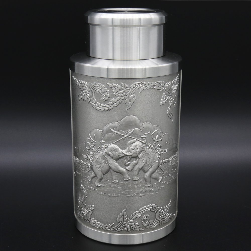 Oriental Pewter - Pewter Tea Storage, Caddy -TPCL1- Hand Carved Beautiful Embossed Pure Tin 97% Lead-Free Handmade in Thailand