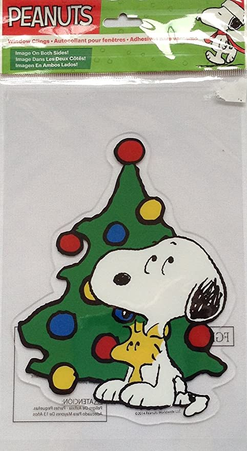 Snoopy And Woodstock Christmas.Peanuts Snoopy And Woodstock Christmas Tree Window Gel Cling 7 H X 5 5 W