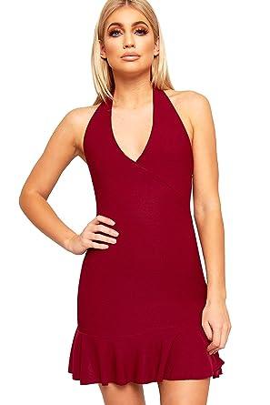 f9e67fba1a61 WearAll Women's Strappy Sleeveless Frill Trim Ladies Halterneck Bodycon Mini  Dress 6-12: Amazon.co.uk: Clothing